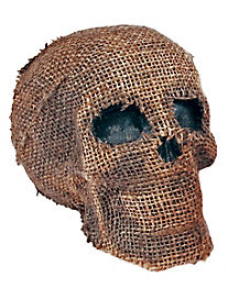 Burlap Skull With Jaw - Decorations