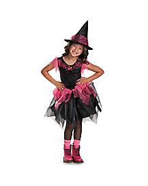 Kids Pink and Black Witch Costume