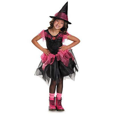 Pink and Black Witch Girls Costume