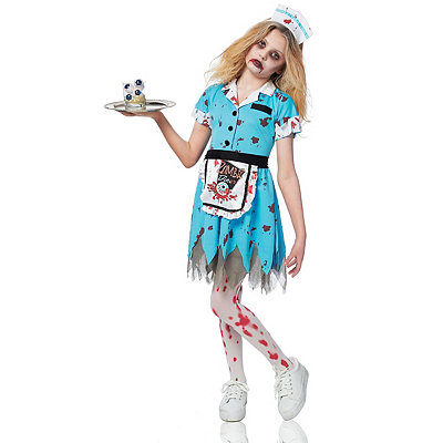 Deadly Diner Zombie Girl Child Costume