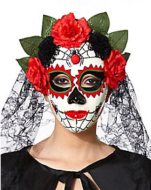 Day of the Dead Flower Mask With Veil