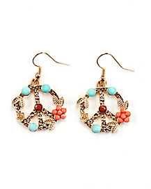 Floral Peace Sign Earrings