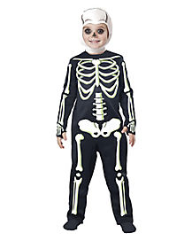 Toddler Short Ribs Skeleton One Piece Costume
