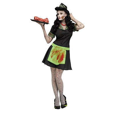 Vintage Inspired Halloween Costumes Adult Zombie  Car Hop Costume $39.99 AT vintagedancer.com