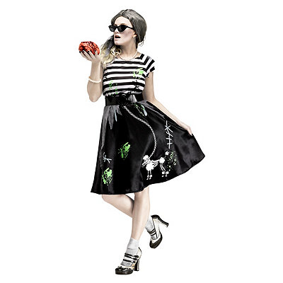 Vintage Inspired Halloween Costumes Adult Zombie Sock Hop Costume $39.99 AT vintagedancer.com