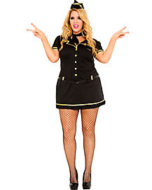 Adult Mile High Stewardess Plus Size Costume