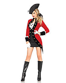 Racy Red Coat Womens Pirate Costume
