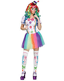 Crazy Color Clown Adult Womens Costume