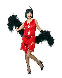 Adult Red Four Tier Flapper Dress Costume