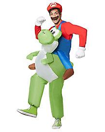 Adult Mario Riding Yoshi Inflatable Costume - Mario Bros