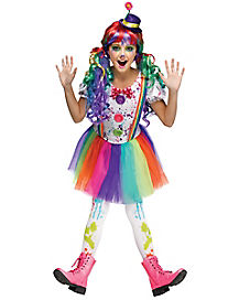Kids Crazy Color Clown Costume
