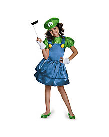 Mario Bros Luigi Girls Child Costume