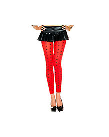 Polka Dot Red and Black Footless Tights