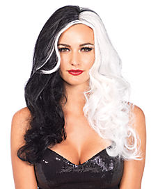 Black and White Two Tone Villain Wig