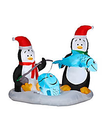 4.5 Ft Penguins Ice Fishing Inflatable - Decoration