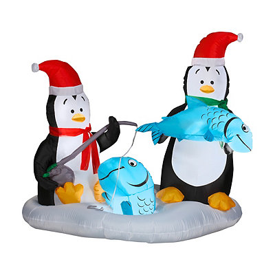 Penguins Ice Fishing Airblown Inflatable