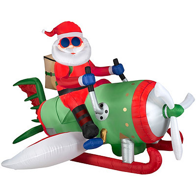 Santa on Flying Machine Airblown Inflatable