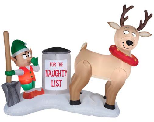 Reindeer Clean Up Scene Airblown Inflatable