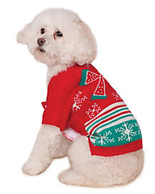 Ugly Christmas Sweater with Bow Dog Costume