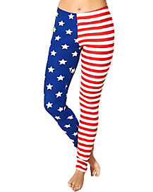 Red White and Blue Flag Print Leggings