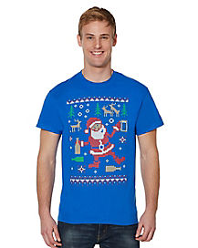 Adult Partying Santa T Shirt