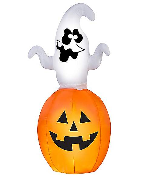 5 ft animated spinning ghost in pumpkin inflatable for Animated halloween decoration