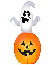 5 Ft Animated Spinning Ghost In Pumpkin Inflatable - Decorations