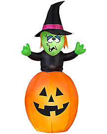 5 Ft Animated Pop Up Witch In Pumpkin Inflatable
