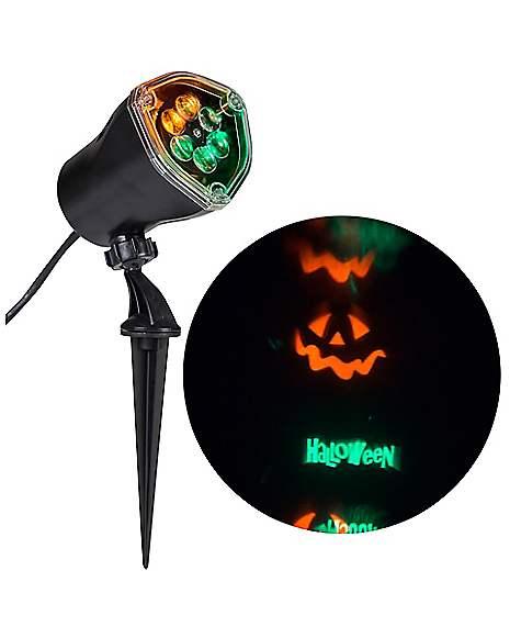 Whirl a motion led green orange pumpkin projection light