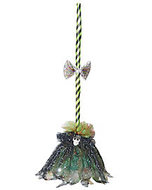 2 Ft Shaking Green Broom Animatronics - Decorations