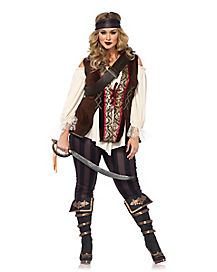 Adult Captain Black Heart Pirate Plus Size Costume