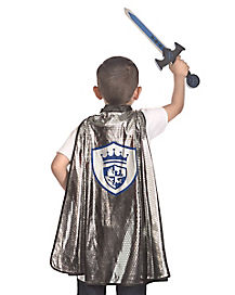 Kids Silver Knight Cape and Sword Set