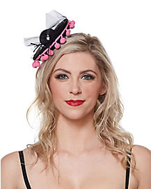 Black Sombrero With Pink Trim Mini Hat Fascinator
