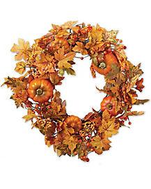 Fall Leaves Pumpkin Wreath