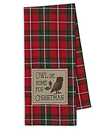 Owl Be Home For Chirstmas Dish Towel