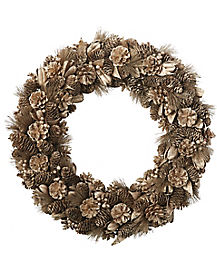 Gold Colored Pinecone Wreath