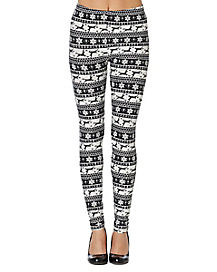 Adult Black and White Ugly Reindeer Leggings