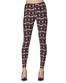 Adult Black and Red Ugly Reindeer Leggings
