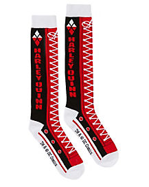 Red and Black Harley Quinn Knee High Sock - DC Comics