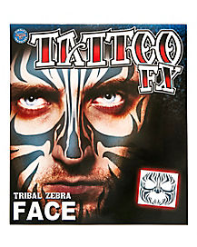 Tribal Zebra Face Tattoo