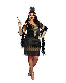 Adult Swanky Flapper Plus Size Costume