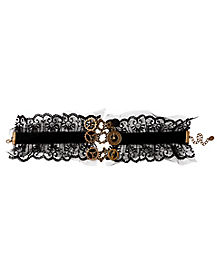 Steampunk Gears and Lace Choker Necklace