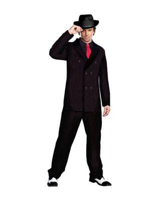 1920s Men's Costumes: Gatsby, Gangster, Peaky Blinders, Mobster, Mafia Mens Gangster Costume by Spirit Halloween $49.99 AT vintagedancer.com