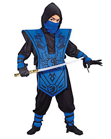 Kids Blue Chest Ninja Costume