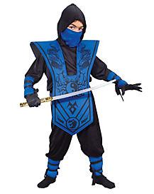 Kids Blue Chest Ninja Costume