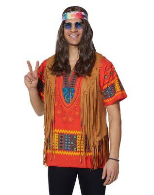 60s -70s  Men's Costumes : Hippie, Disco, Beatles Feelin Groovy Hippie Costume Kit by Spirit Halloween $9.99 AT vintagedancer.com
