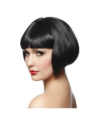 1920s Hairstyles History- Long Hair to Bobbed Hair Short Black Bob  Wig by Spirit Halloween $14.99 AT vintagedancer.com