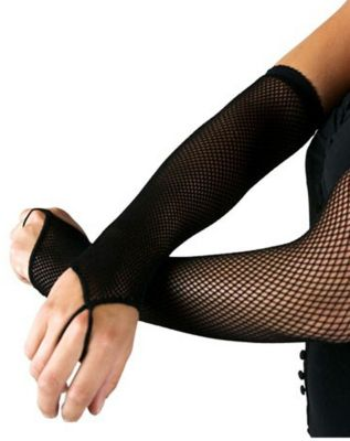 Vintage Style Gloves- Long, Wrist, Evening, Day, Leather, Lace Black Fishnet Arm Warmers by Spirit Halloween $6.99 AT vintagedancer.com
