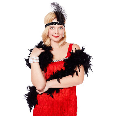 Roaring 20s Costumes- Cheap Flapper Dresses, Gangster Costumes Black Feather Boa $10.99 AT vintagedancer.com