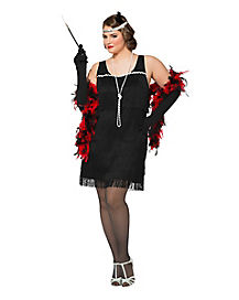 Adult Black Charleston Cutie Flapper Plus Size Costume